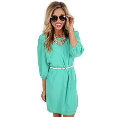 Wrap Party Mint | Impressions Online Women's Clothing Boutique  The Wrap Party dress is perfect for the office or a special occasion! We love how flattering the belt makes this lovely shift dress!