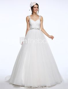 Tulle Wedding Dresses Ball Gown Cheap Online Dressses Chapel Train Criss Cross Gowns Beading Trains