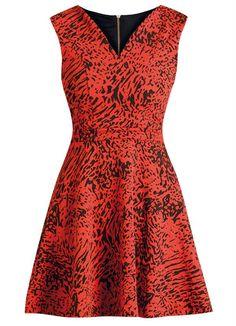 Vestido Evasê Decote em V Estampado Laranja - Quintess