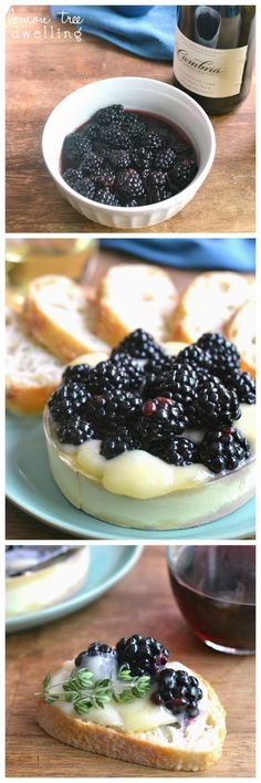 Baked Brie with Wine-Soaked Blackberries: Great idea for a wine tasting birthday party!