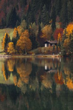 SEASONAL – AUTUMN – fall leaves in brilliant colors decorate the landscape of the lake house in tirol, italy, photo via sissi. Beautiful World, Beautiful Places, Beautiful Pictures, Amazing Photos, Cabins In The Woods, Belle Photo, Beautiful Landscapes, The Great Outdoors, Scenery