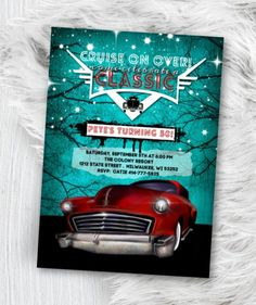 Hot Rod Birthday Invitation, Adult Men Car Invite, Classic Car, Men's Lowrider Invitation Printed or Printable Hens Party Invitations, Cars Birthday Invitations, Photo Invitations, 50th Birthday Party, Elegant Invitations, Birthday Photos, Printable Invitations, Invitation Design, Invite