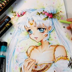 Princess Serenity from Sailor Moon with Chameleon marker and chameleon colored pencils. Sailor Moons, Sailor Moon Crystal, Cristal Sailor Moon, Arte Sailor Moon, Sailor Moon Fan Art, Princess Serenity, Neo Queen Serenity, Moon Drawing, Manga Drawing