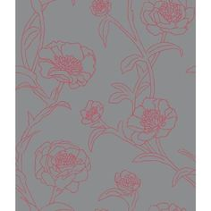 Tempaper Peonies in Rouge & Grey Wallpaper ($85) ❤ liked on Polyvore featuring home, home decor, wallpaper, traditional home decor, peony wallpaper, grey wallpaper, removable wallpaper and graphic wallpaper