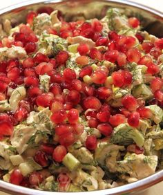 Turkey salad with dill and pomegranate recipe Ingredients include roast turkey, celery, green onions, fresh dill, pomegranate seeds, mayonnaise, Dijon mustard, lemon, ground pepper, salt