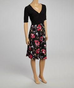 Love this Black Floral Empire-Waist Dress - Plus on #zulily! #zulilyfinds