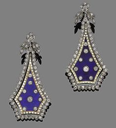 A pair of enamel and diamond pendent earrings, circa 1900  Each floral and foliate rose-cut diamond surmount suspending a pentagonal plaque decorated with royal blue and white enamel and old brilliant-cut diamonds, within a rose-cut diamond border, some enamel damage, length 3.9cm, cased by Bentley and Skinner