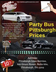Party Bus Pittsburgh Prices is a great experience!  Find the best prices on the Pittsburgh party buses. Here's the final list rated by party bus Pittsburgh, PA .The pro limousine rental prices are also very cheap. Best Party Bus Rates Pittsburgh Bridal Show and we were very impressed with the prices. Booking us immediately and calling us at: (724)737-8057. Visit us: http://pittsburghlimoservice.com/party-bus-rental-pittsburgh.html/