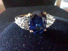 5.00CTW CEYLON SAPPHIRE & WHITE SAP WEDDING ENGAGEMENT RING SZ 7 + FREE NECKLACE #EXCEPTIONALBUY
