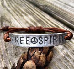 Silver FREE SPIRIT ID Leather Bracelet Hand Stamped, Peace sign bracelet,. $19.00, via Etsy.