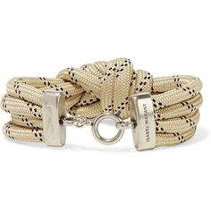 Isabel Marant Knotted silver-tone cord bracelet (140 CAD) ❤ liked on Polyvore featuring jewelry, bracelets, braided cord bracelet, braid jewelry, knotted cord bracelet, rope knot bracelet and nautical jewelry
