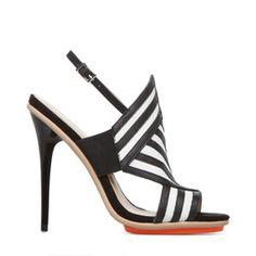 Shoe Dazzle Black Chevron Sandal