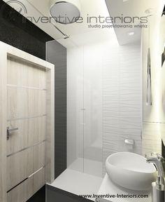 Projekt łazienki Inventive Interiors - białe płytki fakturowe w małej łazience