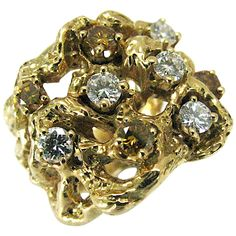 Arthur King Colored Diamond Gold Ring | See more rare vintage Band Rings at http://www.1stdibs.com/jewelry/rings/band-rings