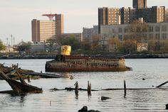 Coney Island Creek's abandoned yellow submarine, the Questor 1, launched in 1970. Photograph by Nathan Kensinger.