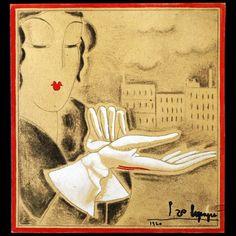 Elégante aux gants, dessin de Georges Lepape (1920)