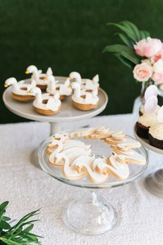 Swan Soiree First Birthday  swan cookies and donuts