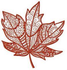 Maple leaf machine embroidery design. Machine embroidery design. www.embroideres.com
