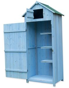 woodside blue wooden sentry box outdoor garden storage cupboard tool shed amazonco