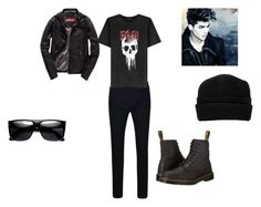 """guy death head"" by emobaby-cc on Polyvore featuring True Religion, Dr. Martens, ADAM, Superdry, The Kooples, Prada, men's fashion and menswear"