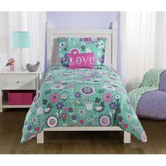 Mainstays Kids Spring Birds and Flower Reversible Bedding TWIN Comforter Set for Girls