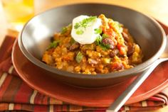 Turkey Pumpkin Chili - Besides adding a sweet nutty flavor to dishes, pumpkin is a ready source of vitamin A, which boosts the nutrition content of this offbeat chili. Garnish each portion with a dollop of sour cream and chopped cilantro.
