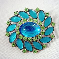 Beautiful and Huge Rhinestone-Frosted Glass and Glass Button