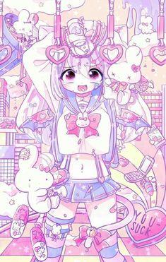 Kawaii and pastel keyboard Soft Grunge, Grunge Style, Pretty Art, Cute Art, Arte Grunge, Manga Anime, Anime Art, Candy Gore, Pastel Goth Art
