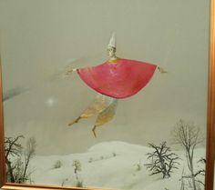Stefan Caltia - Zburatorul cu mantie rosie Surrealism, Imagination, Painting, Fantasy, Artists, Random, Fine Art Paintings, Painting Art, Paintings