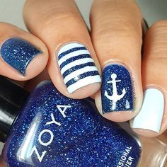 WEBSTA @ lalalovenailart - I've never had so many men compliment my nails All over 50! #beachlife ...@zoyanailpolish Dream Blu @snailvinyls anchor stencil ⚓#snailvinyls #prsample