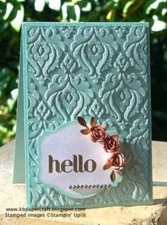 Hello - Beautifully baroque embossing folder -  Here used on pool party core'dinations card - looks and feels like flocking; soooooo gorgeous! Everyone seeing it wants to touch it!