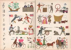 """End Papers to """"Fireside Book of Favorite American Songs"""" Illustration by Aurelius Battaglia,1952."""