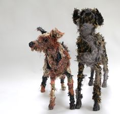 Dog Friends   two Hounds from recycled Fabric, Barbara Franc