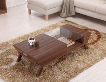 This Kress coffee table features a sleek finish with a unique glass insert on the top. This functional coffee table also features drawer on one side for extra storage.