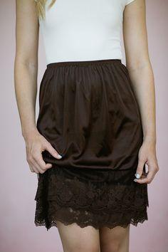 Brown Lace Slip Dress Hem Extender Mocha Modest Skirt Lengthener HALF Slip Stylish Modern Vintage Dresses Extenders Layered Lace Hem on Etsy, $38.00