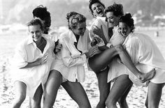 Estelle Lefebure, Karen Alexander, Rachel Williams,Linda Evangelista, Tatjana Patitz & Christy Turlington British Vogue - August 1988 Photographer - Peter Lindbergh
