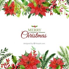 Hand painted floral christmas background Free Vector