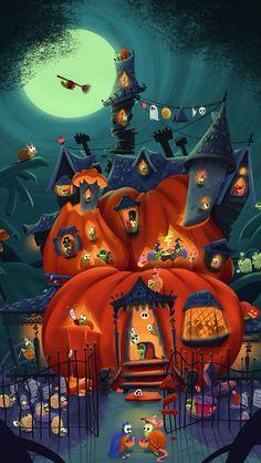 Retro Halloween, Spooky Halloween, Halloween Kunst, Image Halloween, Halloween Artwork, Halloween Poster, Halloween Painting, Theme Halloween, Halloween Images