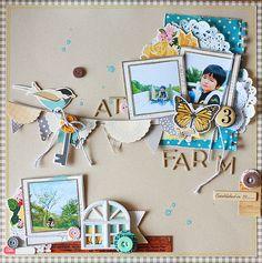 #papercraft #scrapbook #layout #Disney At a Farm #scrapbook #layout #paper #photo #vignettes
