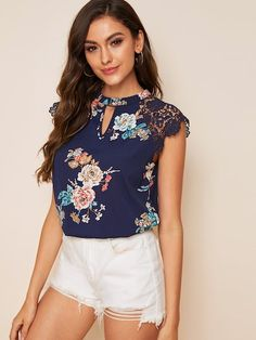 To find out about the Guipure Lace Sleeve Floral Print Peekaboo Top at SHEIN, part of our latest Blouses ready to shop online today! Sexy Blouse, Blouse Outfit, Blouse Styles, Blouse Designs, Lace Saree, Floral Fashion, Blouse Online, Summer Shirts, Bleu Marine
