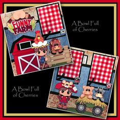 FUNNY FARM ~ 2 PREMADE SCRAPBOOK PAGES Paper Piecing layout 4 album ~ BY CHERRY  #Handmade