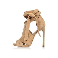 Beige Wildlederstiefel mit Schnürung (350 BRL) ❤ liked on Polyvore featuring shoes, pumps, heels, tie shoes, peep-toe shoes, heel pump, high heel stilettos and stiletto pumps