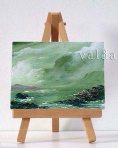 Green Ocean 3x4 original oil painting miniature by valdasfineart