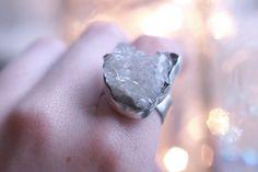 Quartz crystal cluster ring