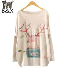 Women Pullover Floral Print Knitted Sweater Coat Christmas Elk Pattern Long Bat Sleeve Hedging O-neck F894 Autumn Winter(China (Mainland))