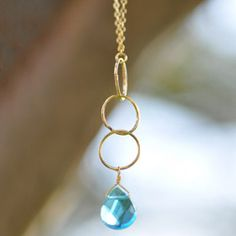 18K Gold Plated Necklace in Blue Quartz