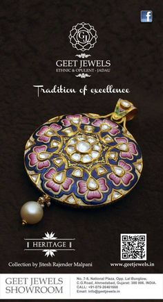 Exemplary jadau jewelry with trust in tradition from geet jewels. Designs are inspired by Mughal Era with a blend of Gold, Polki, Diamond Pendants India Jewelry, Temple Jewellery, Mughal Jewelry, Jhumki Earrings, Moon Jewelry, Pendant Set, Jewelry Patterns, Wedding Jewelry, Jewelry Collection