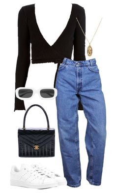 """#953"" by blendingtwostyles ❤ liked on Polyvore featuring ASOS, adidas Originals, Chanel and Illesteva"