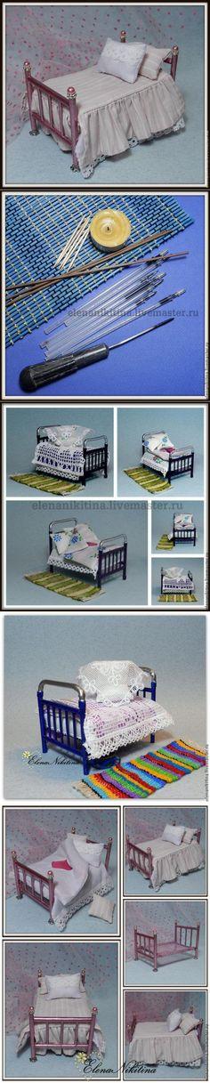 """Мастер-класс """"Кровать"""". Кукольная миниатюра. - Ярмарка Мастеров - ручная работа, handmade"""