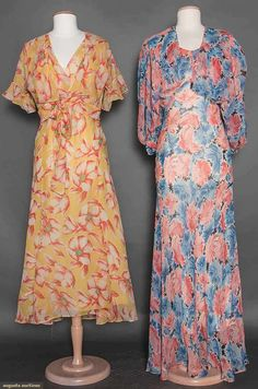 TWO FLORAL CHIFFON DRESSES, 1930s (with matching boleros)